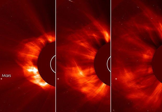 Explosões solares captadas na última quinta-feira (11) por instrumentos da agência espacial americana (Foto: Divulgação/ESA&NASA/SOHO/GSFC)