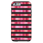 Pink and Black Metallic Stripes | Monogrammed Tough iPhone 6 Case