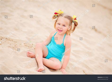 Happy Little Girl Bikini Sit On Stock Photo 81537382