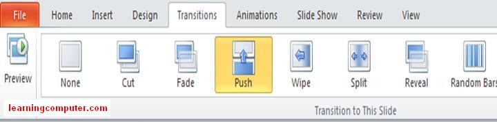 Power Point 2010 Transition tab groups8