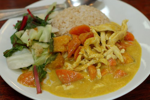 Chicken Curry With Carrots & Kabocha, Steamed Greens & Brown Rice by Eve Fox, Garden of Eating blog