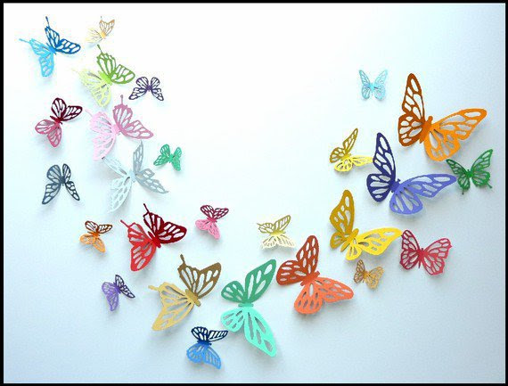 3D Wall Butterfly - 60 Colorful Butterflies for Nursery, Wedding ...