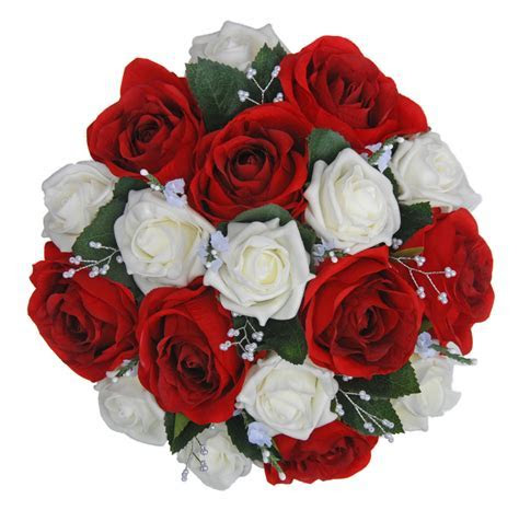 Red & Ivory Artificial Rose Bridal Bouquet with Heather