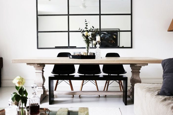 Le Fashion Blog Australian Blogger Brooke Testoni Bright Minimal Home Ornate Light Wood Dining Table Grid Wall Mirror Mid Century Black Chair Side Bench