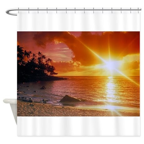 Hawaiian Sunset Shower Curtain by serenitybeach