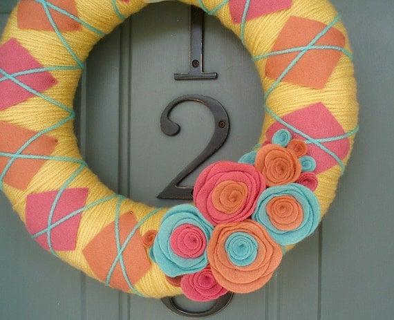 Yarn Wreath Felt Handmade Door Decoration - Spring Plaid 12in
