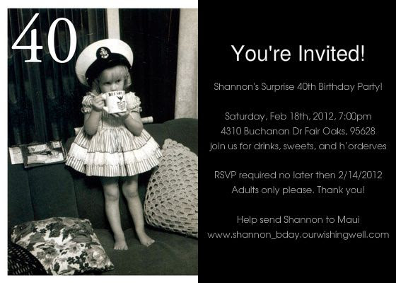 Free Printable 40th Birthday Party Invitations for Adults   27 ...
