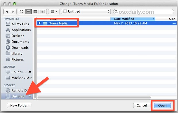 Select the external iTunes Library path