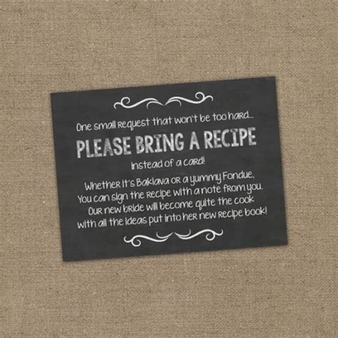 Please Bring A Recipe Instead Of A Card! Insert For Bridal