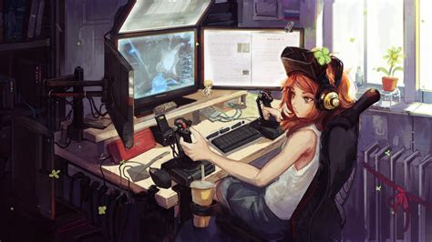anime gamer girl hd anime  wallpapers images