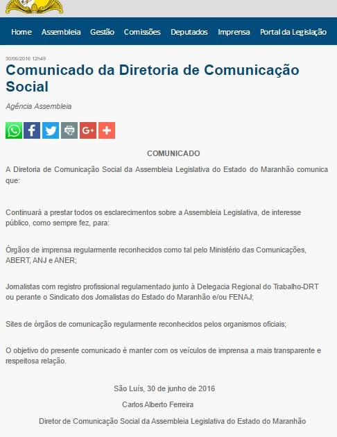 Diretor de Comunicação da AL-MA acredita que, com nota, blogs como o ATUAL7 não poderão mais buscar acesso legal a informações públicas