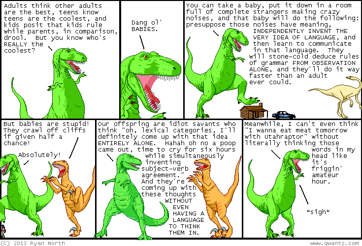 T-Rex expounding his version of the poverty of the stimulus argument