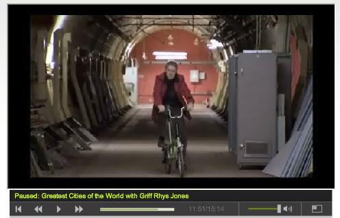 Griff Rhys Jones cycling through secret Tunnel - Screengrab