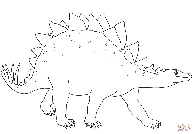 er sur la Stégosaure dinosaure herbivore coloriages