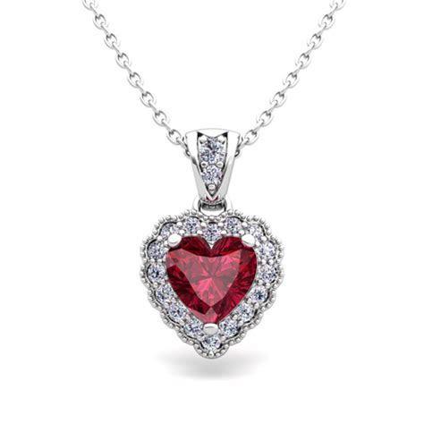 Milgrain Diamond and Garnet Heart Necklace in 14k Gold Pendant