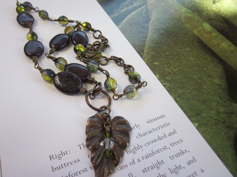 Wild Grapes-Lepidolite, Czech Beads, Swarovski Crystals & Antiqued Brass Wire-Wrapped Chain Necklace