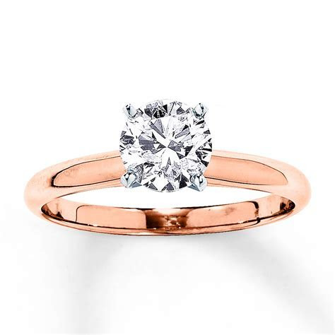 Solitaire Engagement Ring 1 Carat Diamond 14K Rose Gold