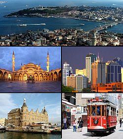 Từ trên xuống theo chiều kim đồng hồ: Sừng Vàng nằm giữa khu Galata và mũi Sarayburnu; quận tài chính Maslak; Đại lộ İstiklal; Nhà ga Haydarpaşa; và Thánh đường Sultan Ahmed