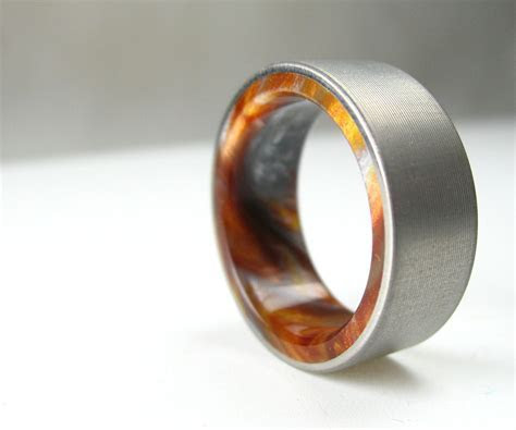 Buy a Handmade Titanium Wood Tone Burl Mens Wedding Band