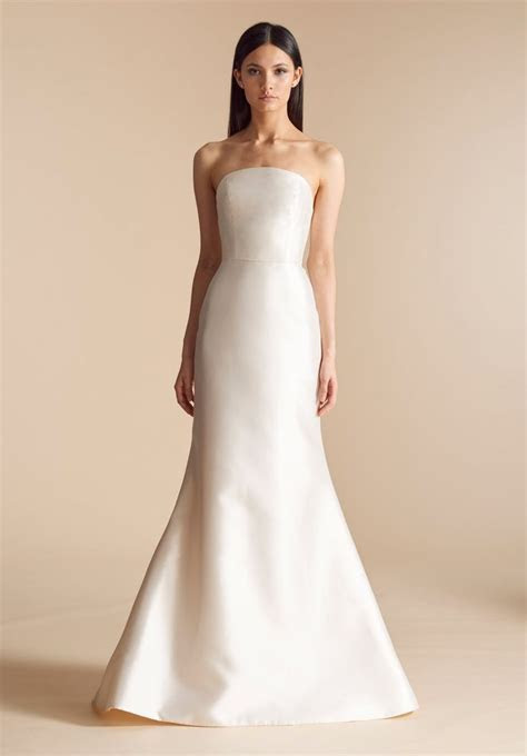 Strapless simple fit and flare wedding dress with chapel