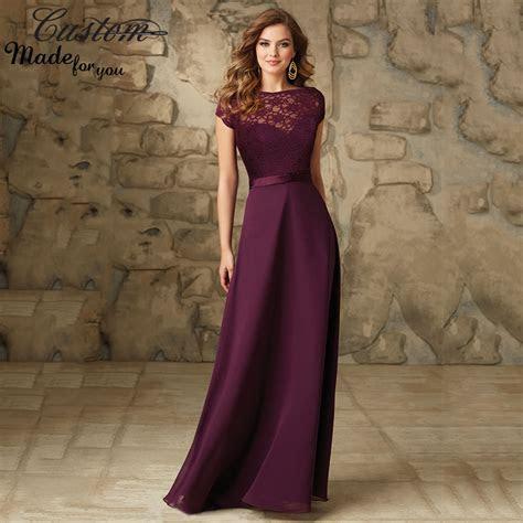 Imported Wedding Party Dress Grape Chiffon Floor Length