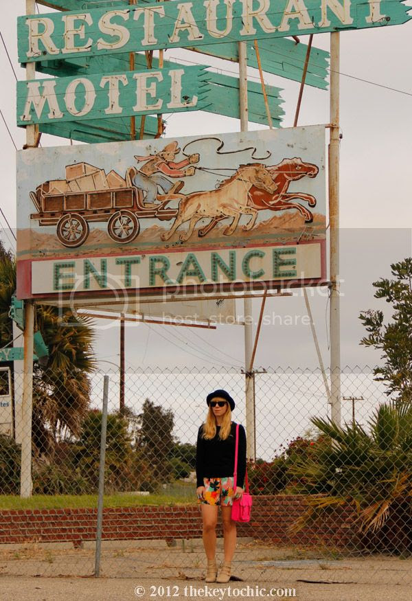bowler hat, tropical print shorts, studded ankle boots, southern California fashion blogger