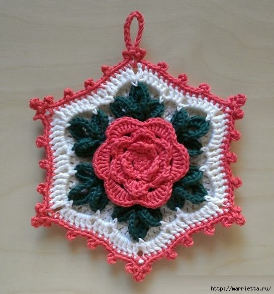 Crochet.  Tack with volume rose (18) (545x586, 180Kb)