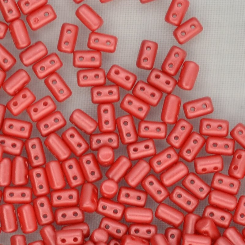 s44311 Czech Shaped Beads -  Rullas - Pastel Dark Coral
