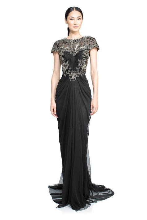 Corded Lace and Draped Tulle Gown   Tadashi Shoji
