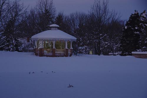 Gazebo winter night