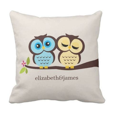 Blue and Yellow Owls Wedding Throw Pillow   Zazzle.com