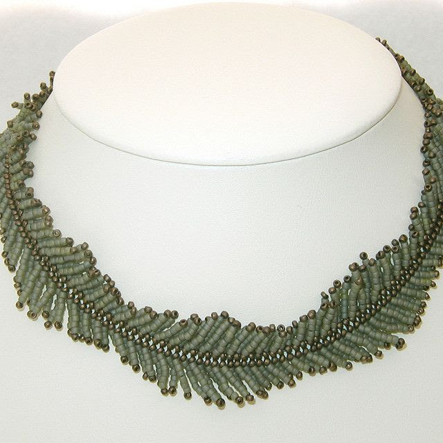 Continuous Fern Necklace  using herringbone stitch; like the combination of color and shape for an organic look - eddiedowning on flickr