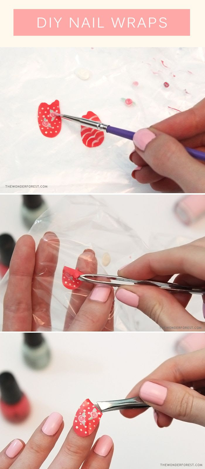 Make your own nail wraps with nail polish...x