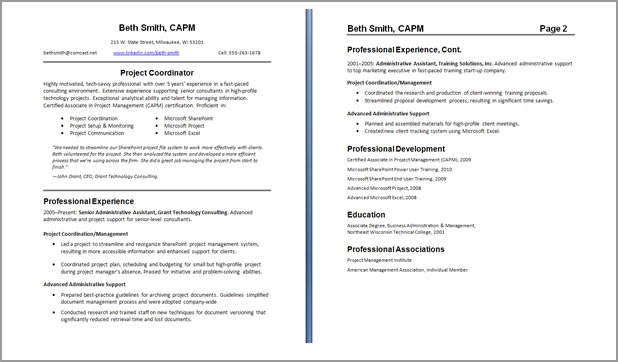 resume format  2 page resume format header needed
