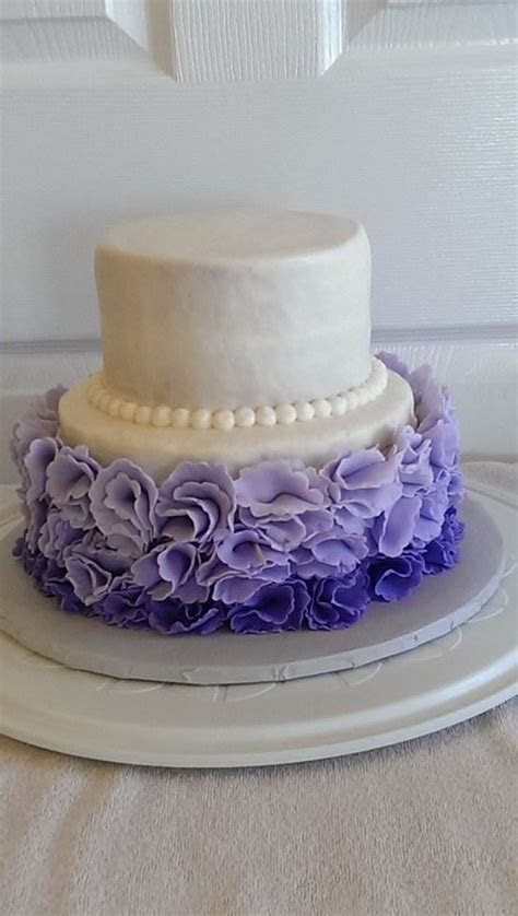 Ruffle Ombre Fondant Flower Wedding Cake   Frosted Friends