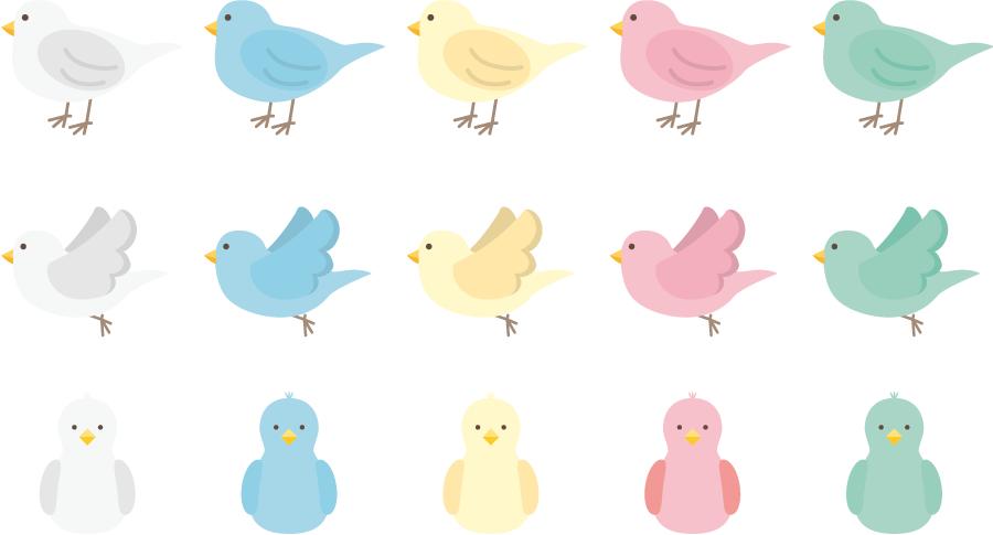 フリーイラスト 15種類の小鳥のセットでアハ体験 Gahag 著作権