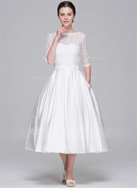 A Line/Princess Sweetheart Tea Length Satin Wedding Dress