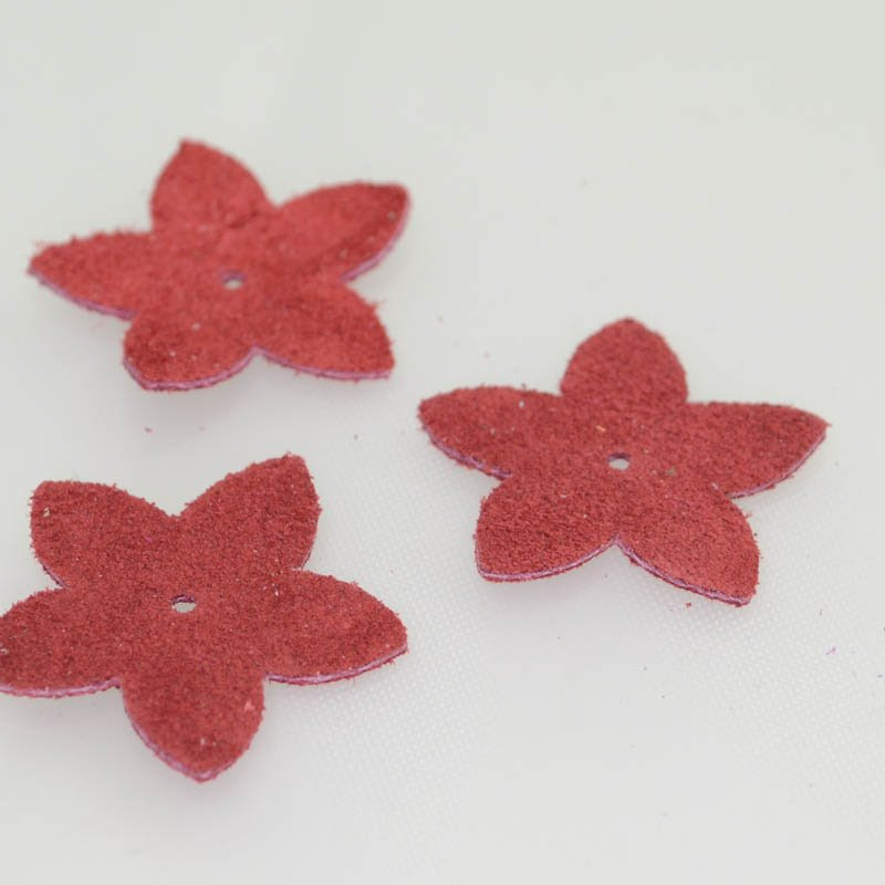 s40554 Leather - Large Suede Flower - Coral (1)