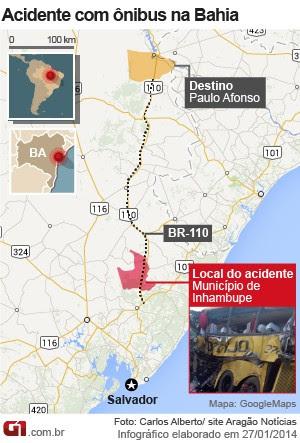Acidente na Bahia (Foto: Arte/G1)