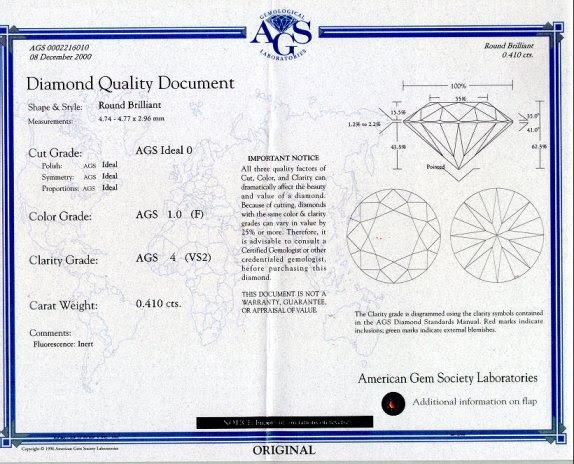 AGS diamond grading certificate