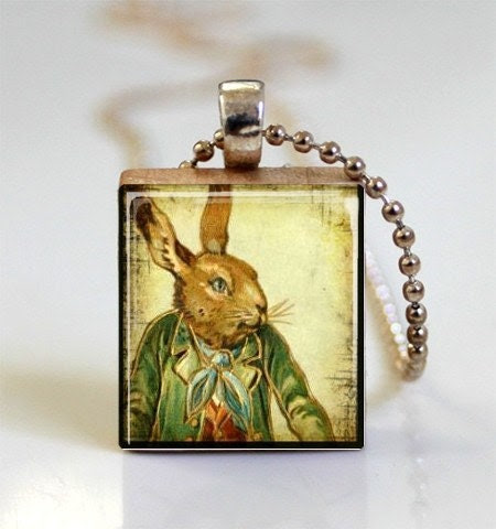 Rabbit in Green Jacket Scrabble Tile Pendant Easter Jewelry (ITEM S281) Free Ball Chain Necklace or Key Ring