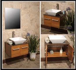 Wall Mounted Bathroom Vanity w/ Storage Cabinet & Ceramic Sink ...