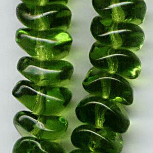 27801025-05 Glass - 9 x 4 mm Wave Nuggets - Dark Olivine (10)