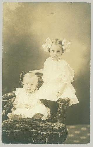RPPC Two Children, big bows