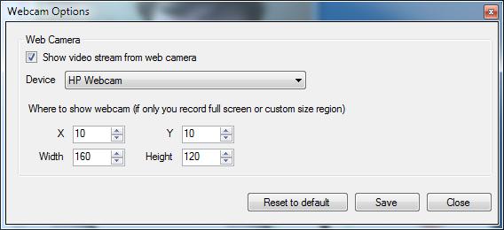 Camtica Webcam Opciones