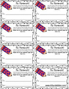 Free Printable Homework Passes   Classroom Ideas   Pinterest ...