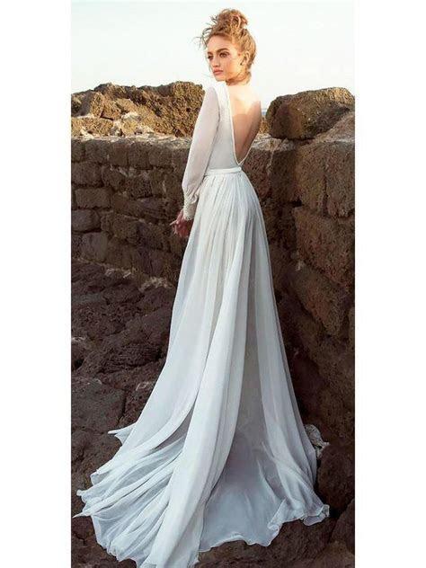 A line simple beach wedding dresses with sleeve. Ivory
