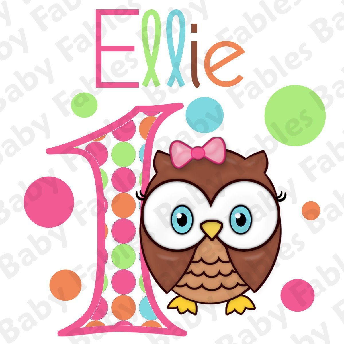 Birthday Girl IRON ON TRANSFER - Pretty Owl