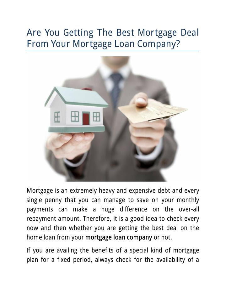 Are You Getting The Best Mortgage Deal From Your Mortgage Loan Company ...