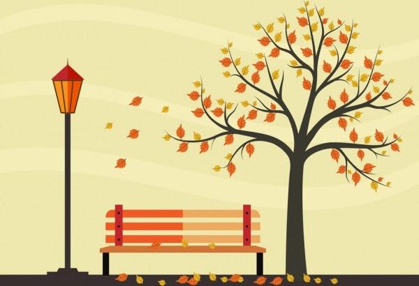 Sonbahar Park çizim Renkli Ağaç Tezgah Süs Yaprakları Vektör Bitki